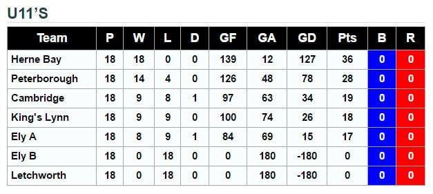 ECRHA U11 league Final Standings 2015.16