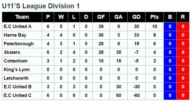 U11 League Standings 8th October 2016