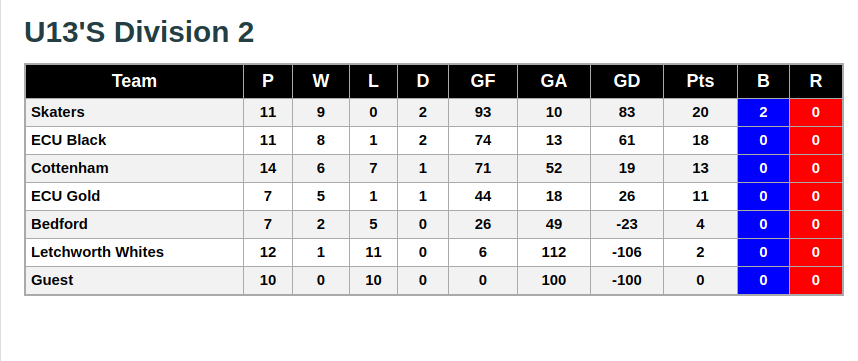 U13s Division 2 26th January 2019 League Standings