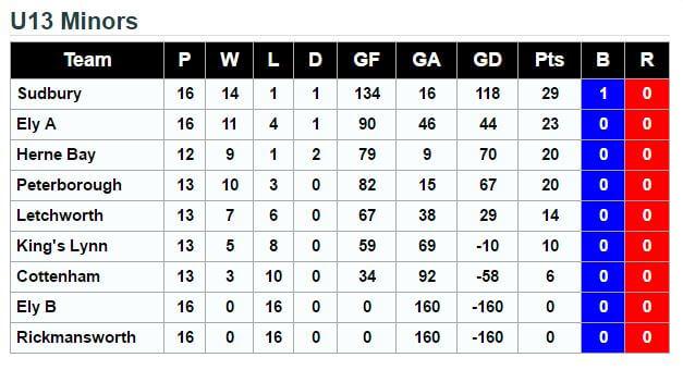 U13's League Standings 21st May 2016