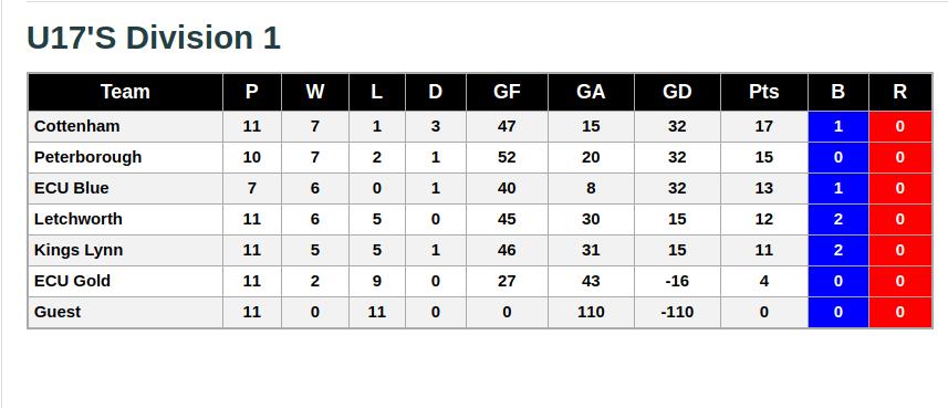 U17s 23rd February 2019 League Standings