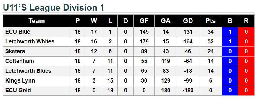 u11 Final League Standings 2017-18