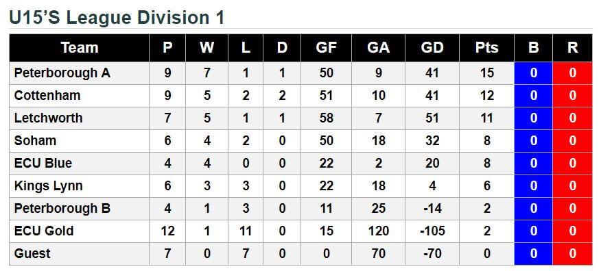u15 13th January 2018 League Standings